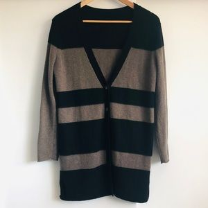 Cashmere Cardigan Colour Blocked Black and Brown